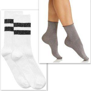 NWT HUE Lot of 4 Metallic Striped & Shortie Socks